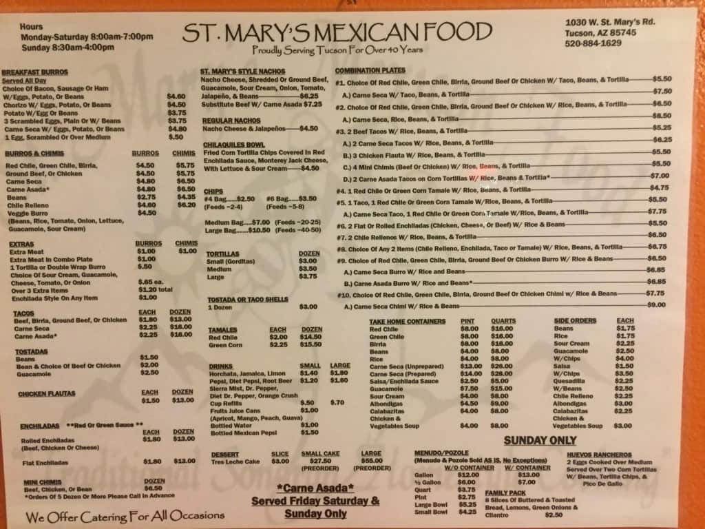 St Mary S Mexican Food Menu