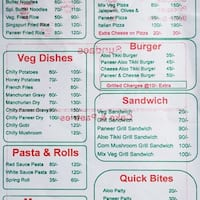 Scanned menu for Namdhari's Icecream & Bakers