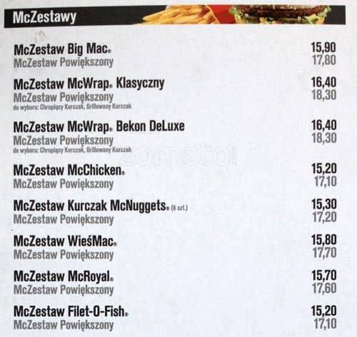 Mcdonalds menu menu for mcdonalds prdnik biay krakw mcdonalds prdnik biay menu altavistaventures Images