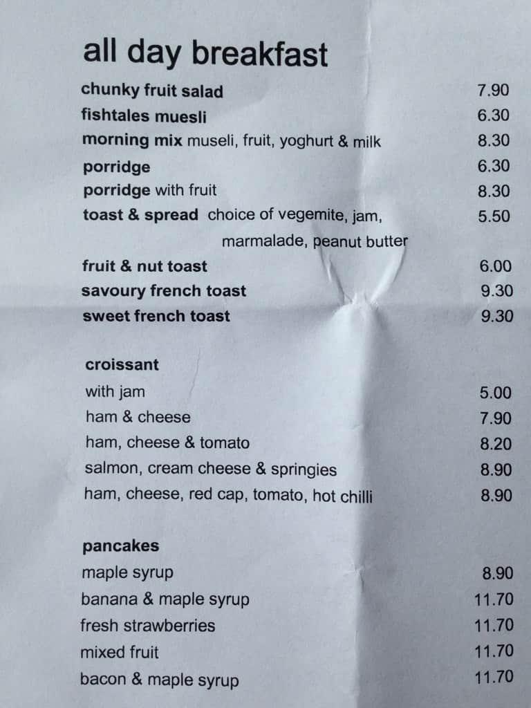 Fishtales cafe menu menu v re taur cii fishtales cafe for Fish tales menu