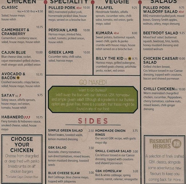 gourmet burger kitchen menu, menu for gourmet burger kitchen