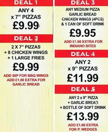 Menu At Indiano Pizza Pizzeria London 126 Upton Ln