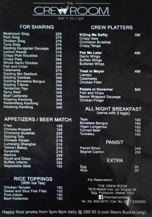 Crew Room Makati Menu