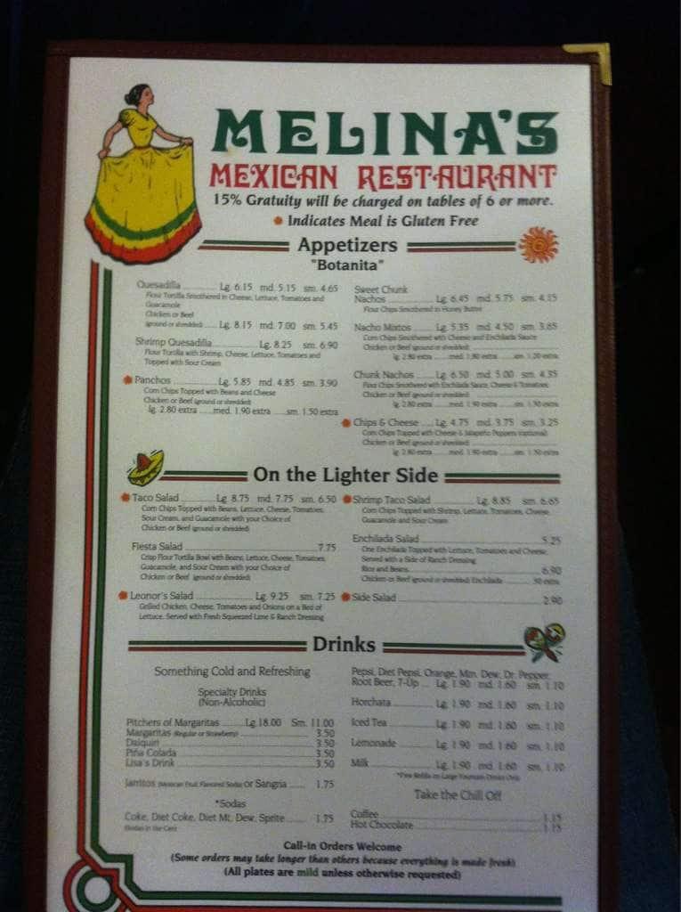 Melinas Mexican Restaurant Blackfoot Menu