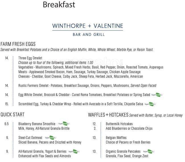 Winthorpe And Valentine, Rittenhouse Square Menu