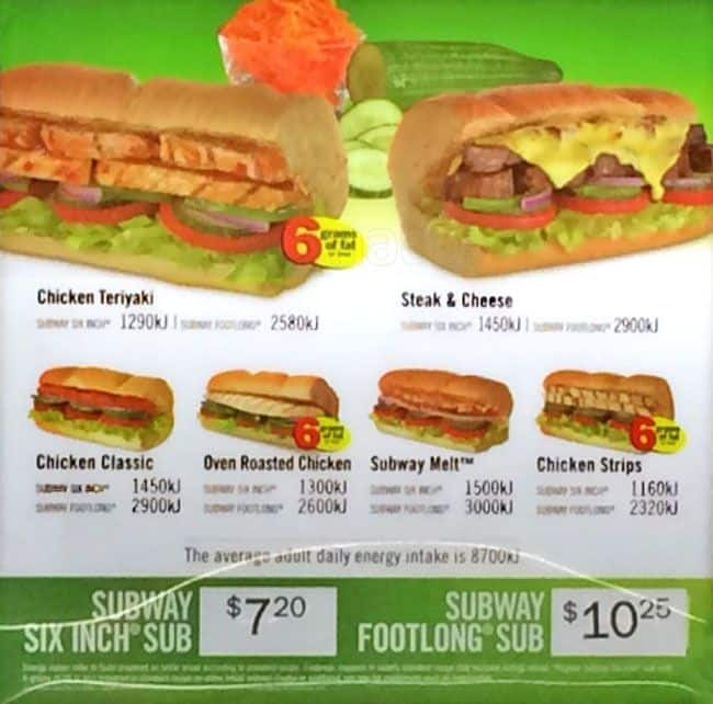 Subway menu prices for Australian cuisine menu
