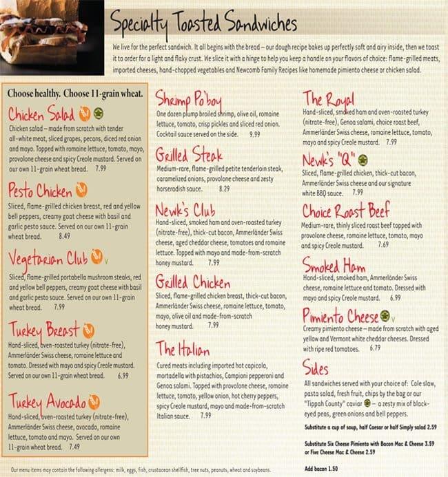 Nashville menu