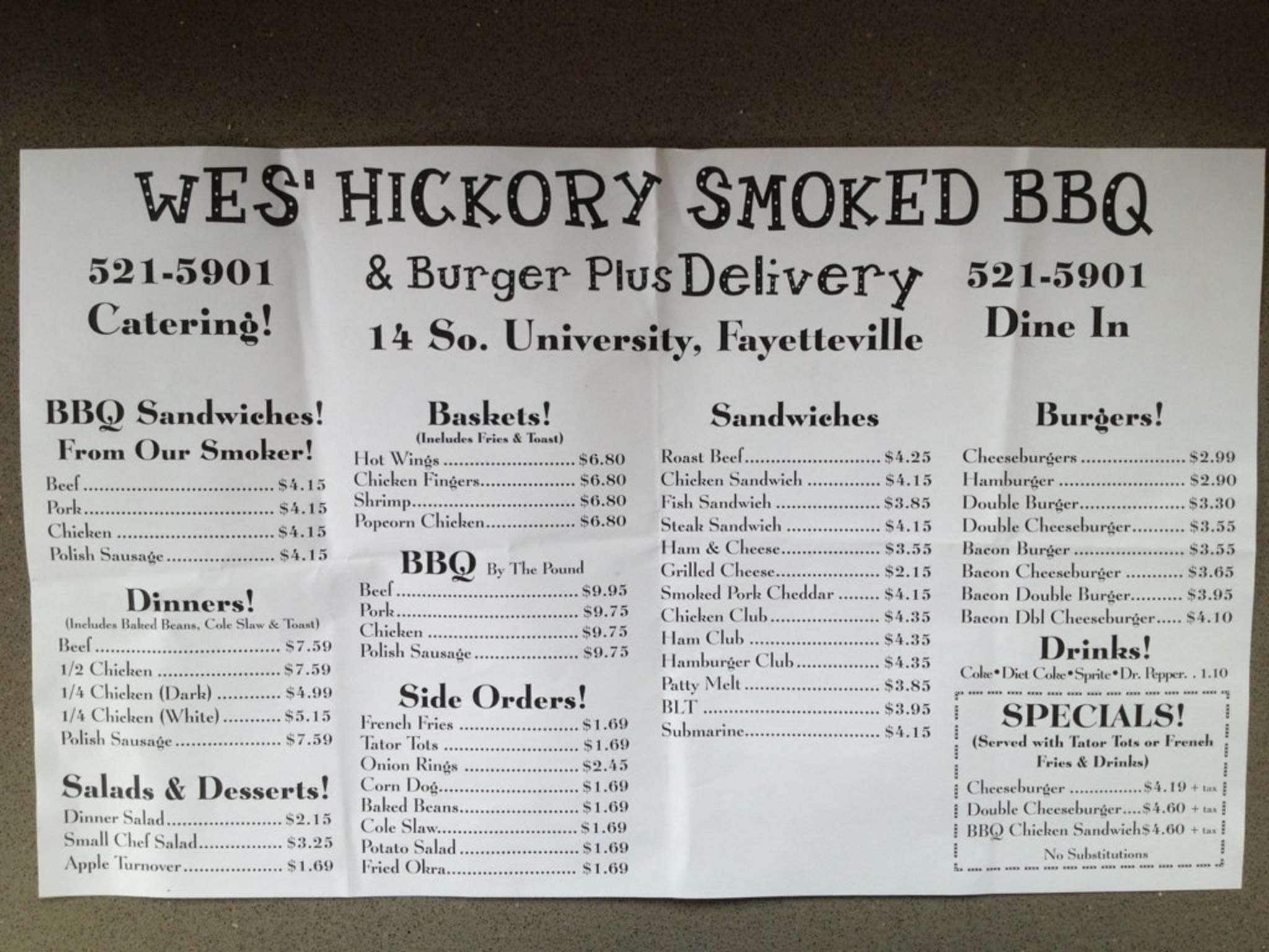wes barbeque menu menu for wes barbeque fayetteville northwest