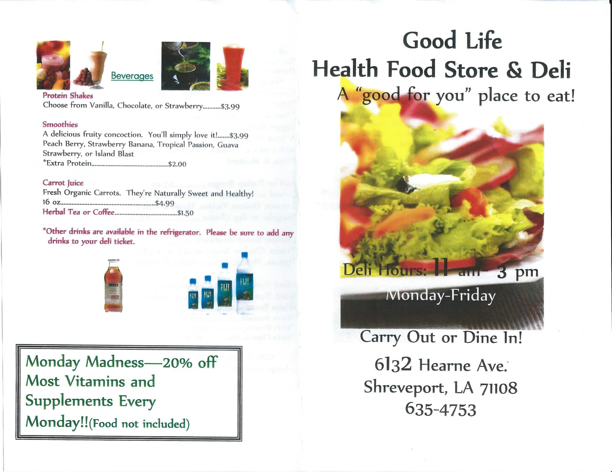 Food and good health - Good Life Health Food Store And Deli Shreveport Menu
