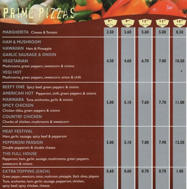 Prime Pizza Moston Menu