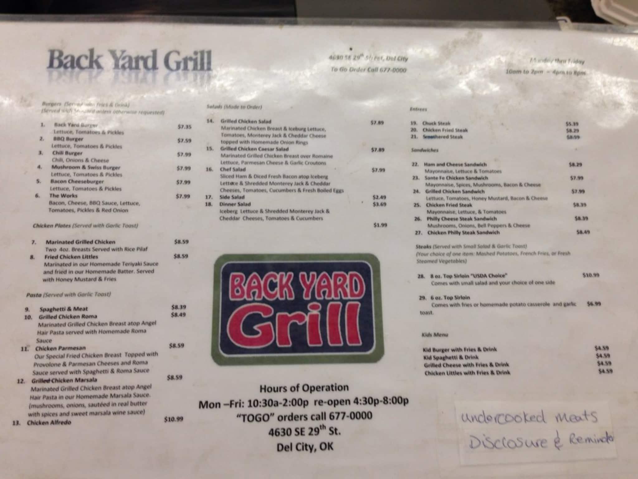 menu at backyard gril 4630 se 29th st restaurant prices