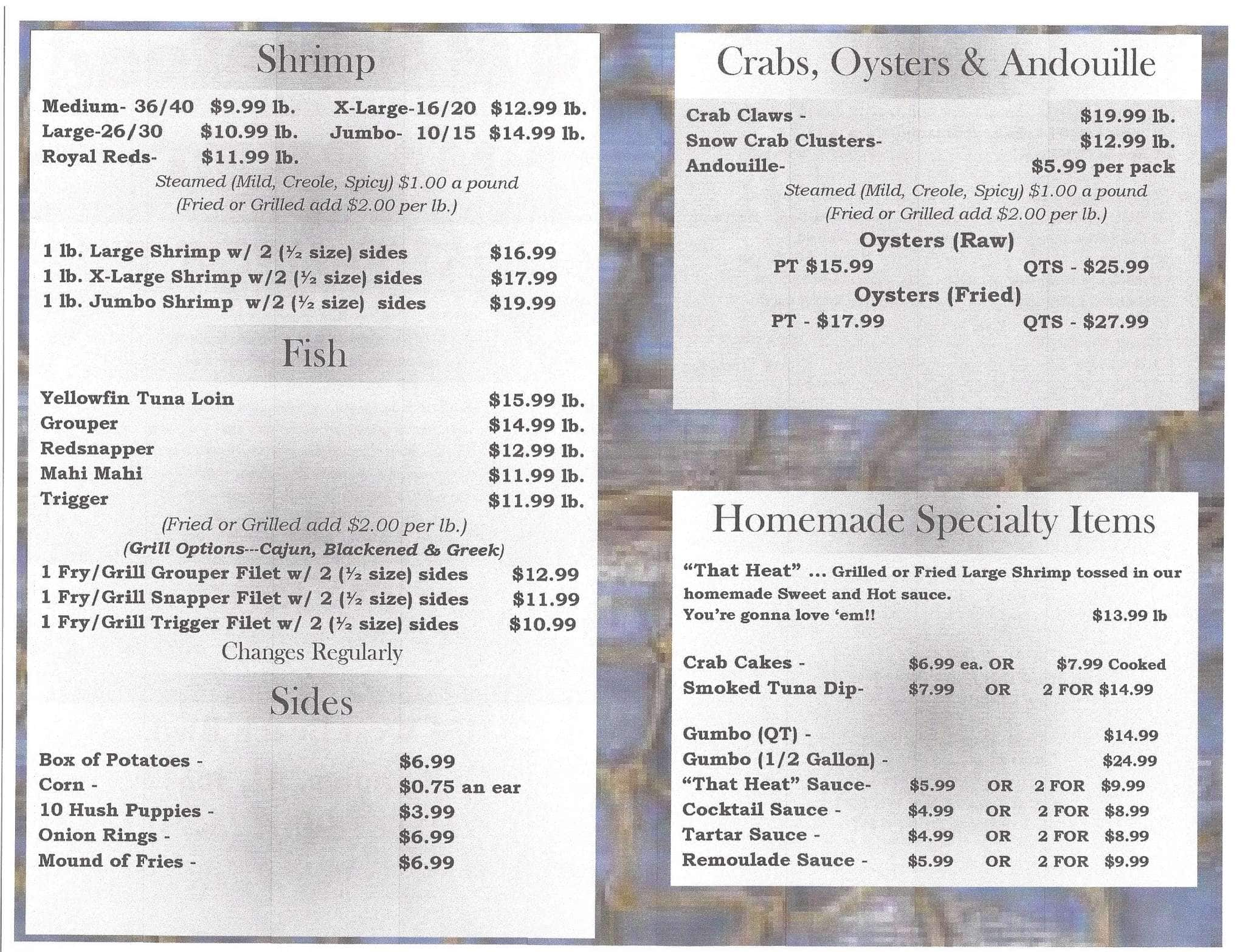 S Seafood Market Menu