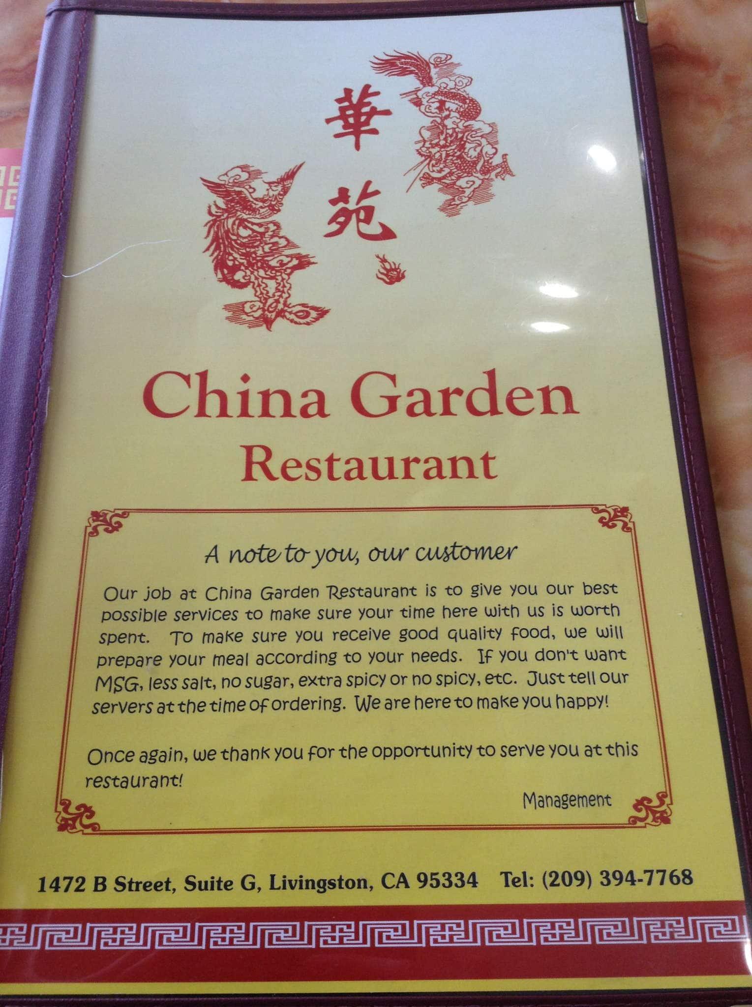 China Garden Restaurant Menu Menu For China Garden