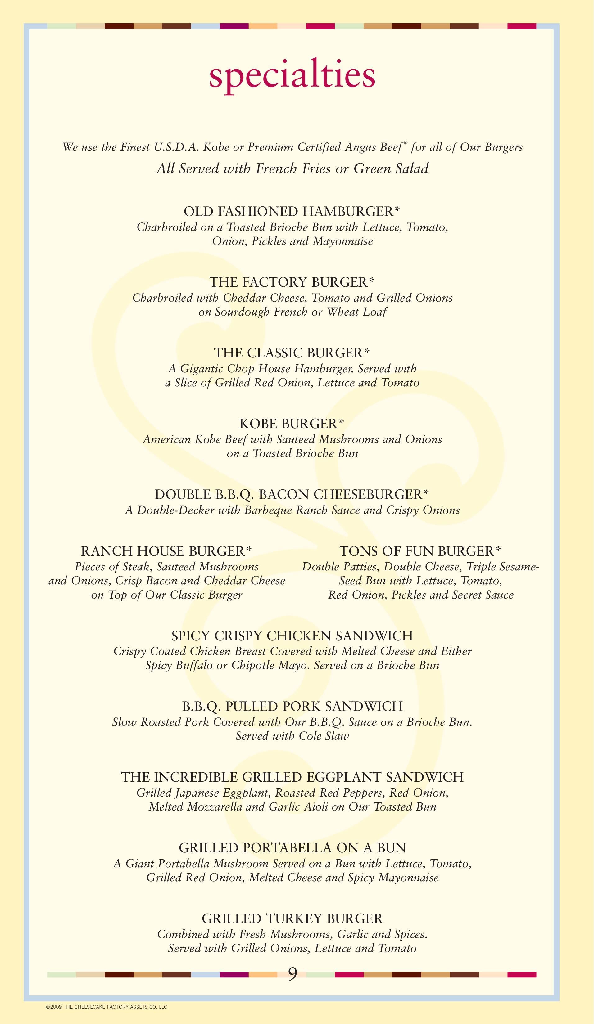 graphic relating to Printable Cheesecake Factory Menu named Menu at The Cheesecake Manufacturing unit desserts, Columbus, Townsfair Route