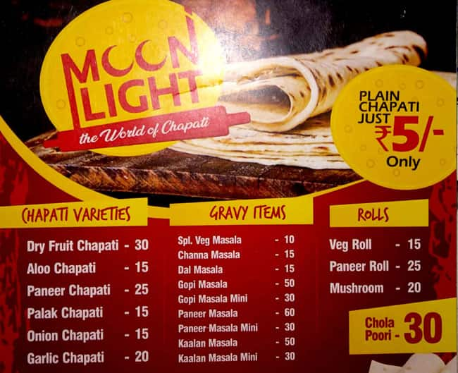 Moon Light Menu, Menu for Moon Light, Saibaba Colony, Coimbatore