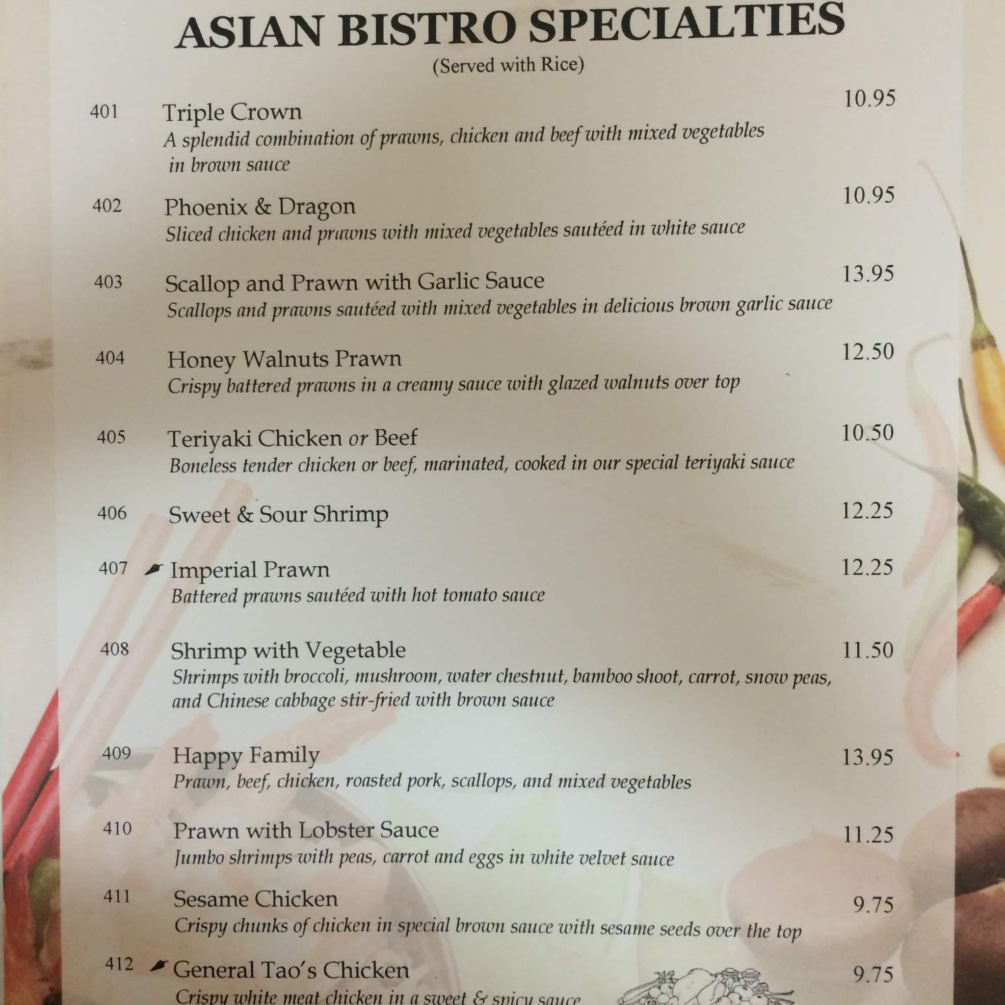 Asian bistro restaurant menu menu for asian bistro for Asian cuisine menu