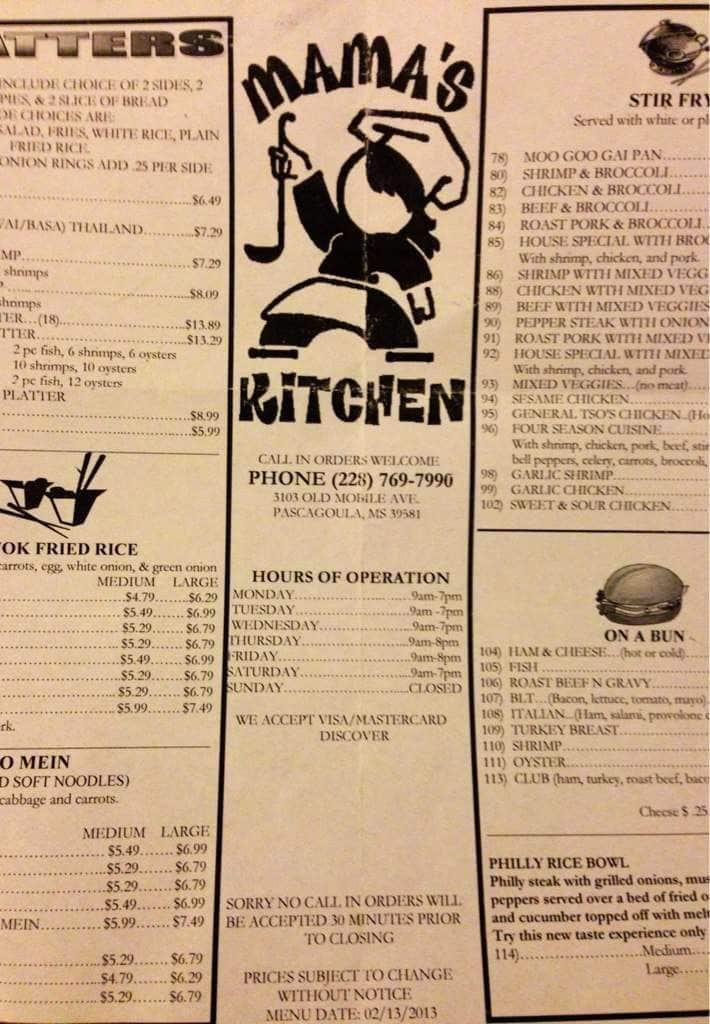 Mama\'s Kitchen Menu, Menu for Mama\'s Kitchen, Pascagoula, Gulfport ...