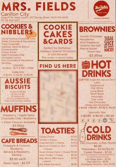 mrs fields carillon menu menu for mrs fields carillon on birthday cakes in perth cbd