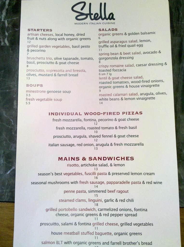 Stella modern italian cuisine menu urbanspoon zomato - Italian cuisine menu list ...