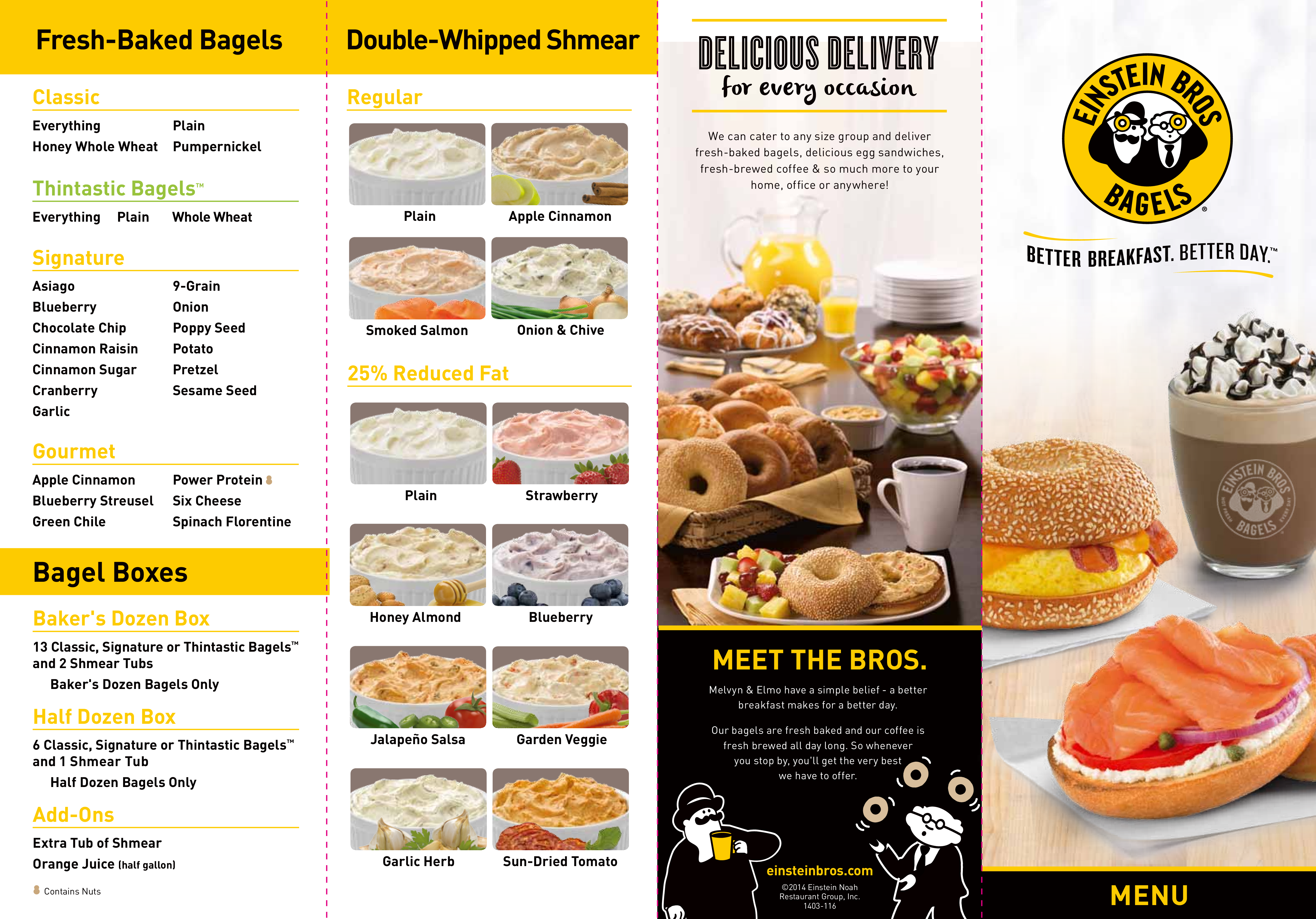 Einstein Bros  Bagels Menu, Menu for Einstein Bros  Bagels