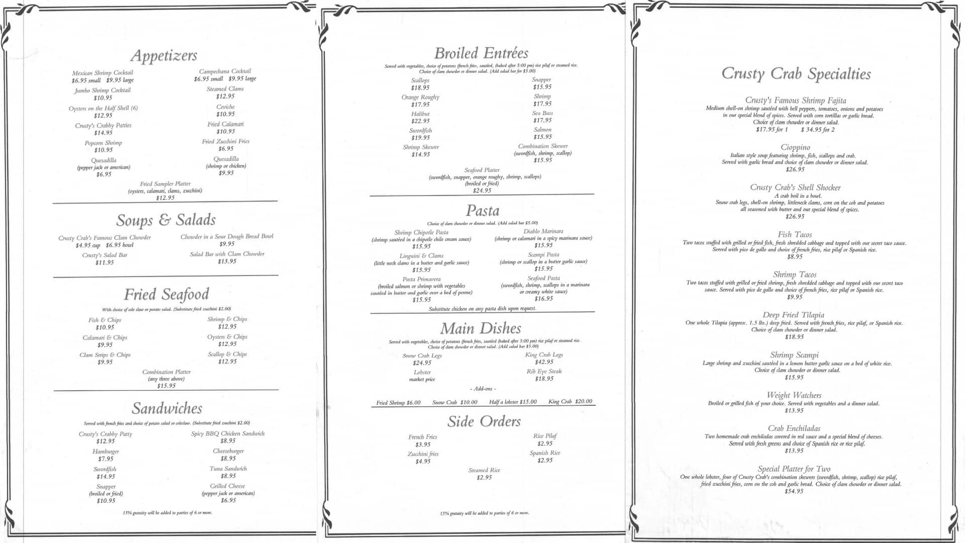 Crusty crab fish market and restaurant menu urbanspoon for San pedro fish market prices