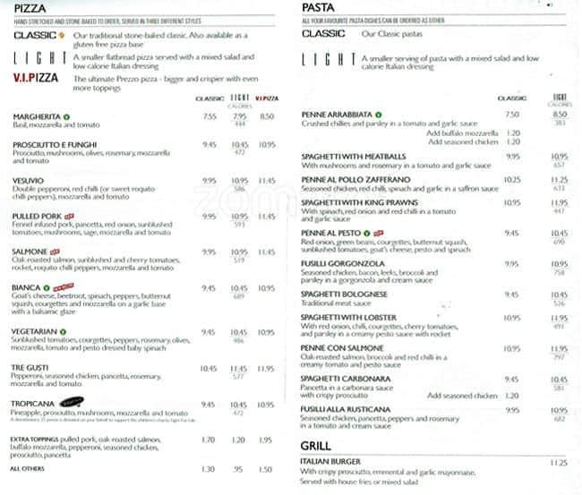 Prezzo menu menu for prezzo renfrew glasgow zomato uk prezzo renfrew menu sciox Image collections