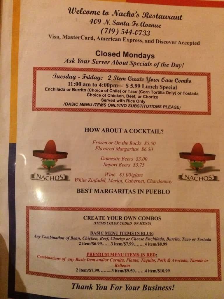 nacho s restaurant menu menu for nacho s restaurant pueblo pueblo
