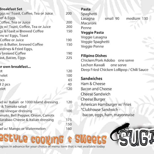 Sugars Cafe Menu Menu For Sugars Cafe Carcar City Cebu