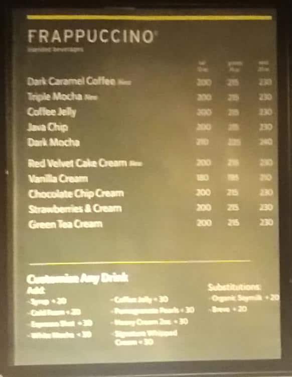 Starbucks Menu Menu For Starbucks Ninoy Aquino Airport