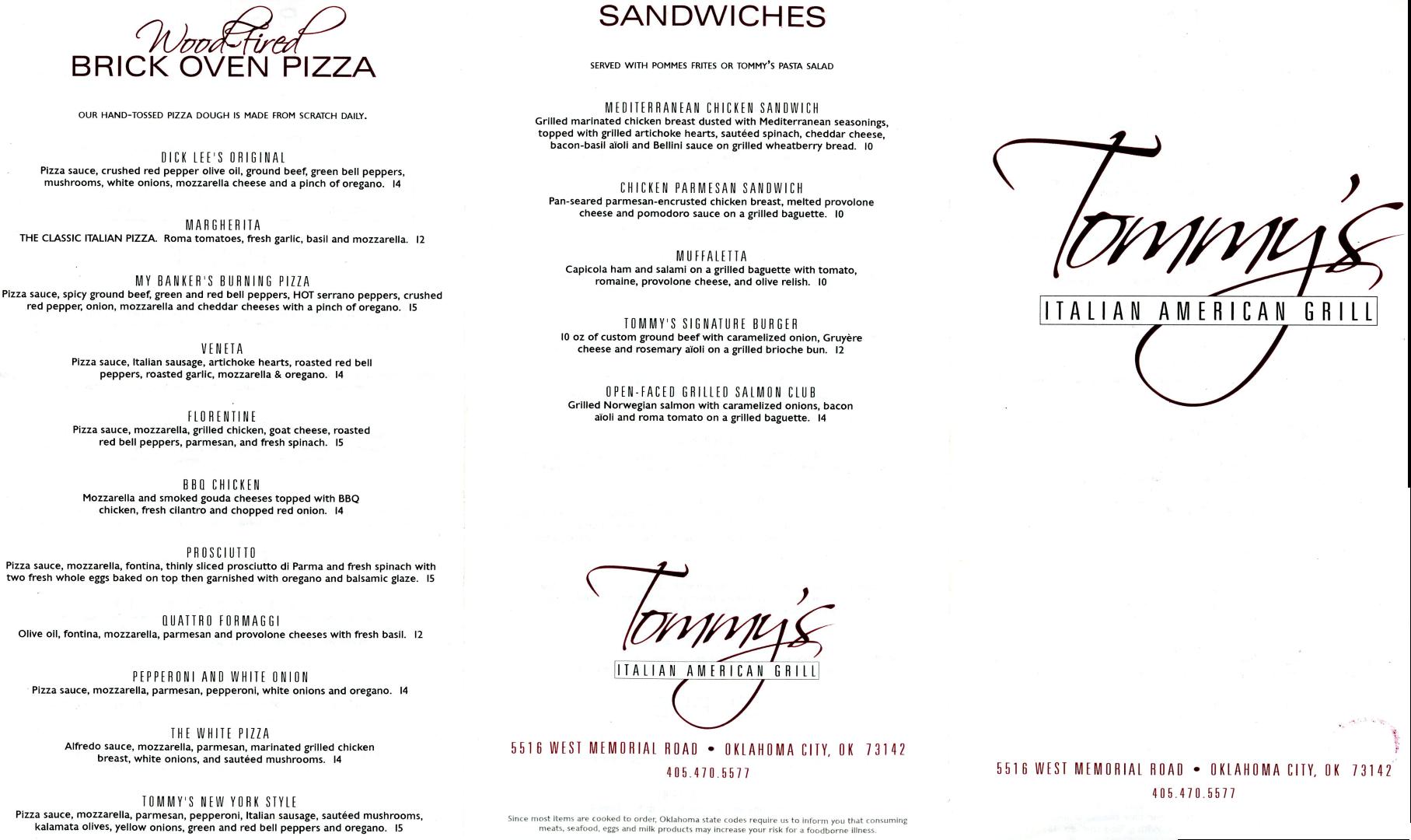 Tommy\'s Italian-American Grill Menu - Urbanspoon/Zomato