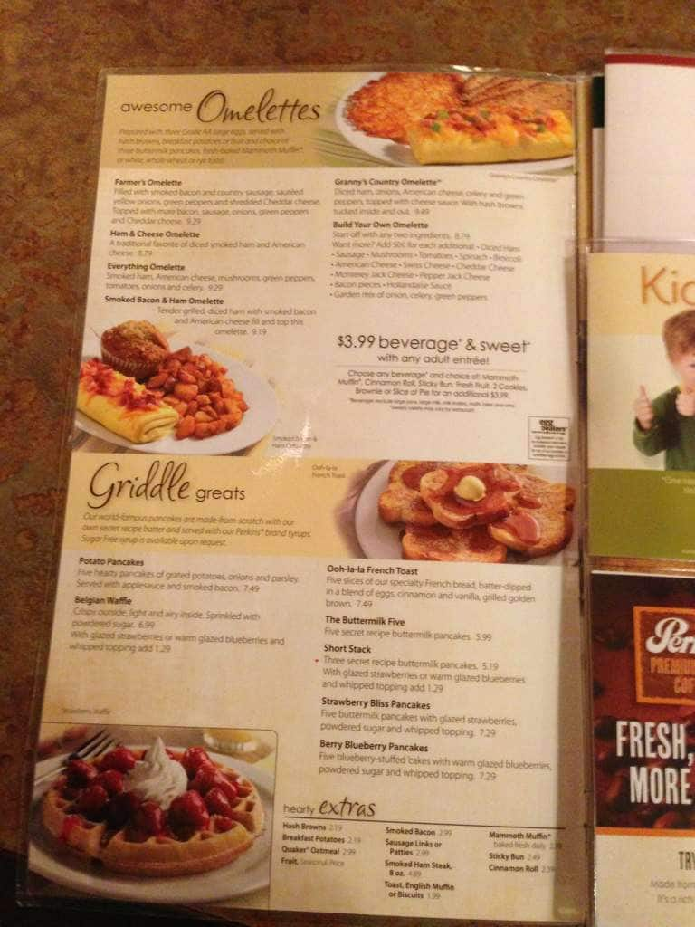 Perkins Restaurant Bakery Menu