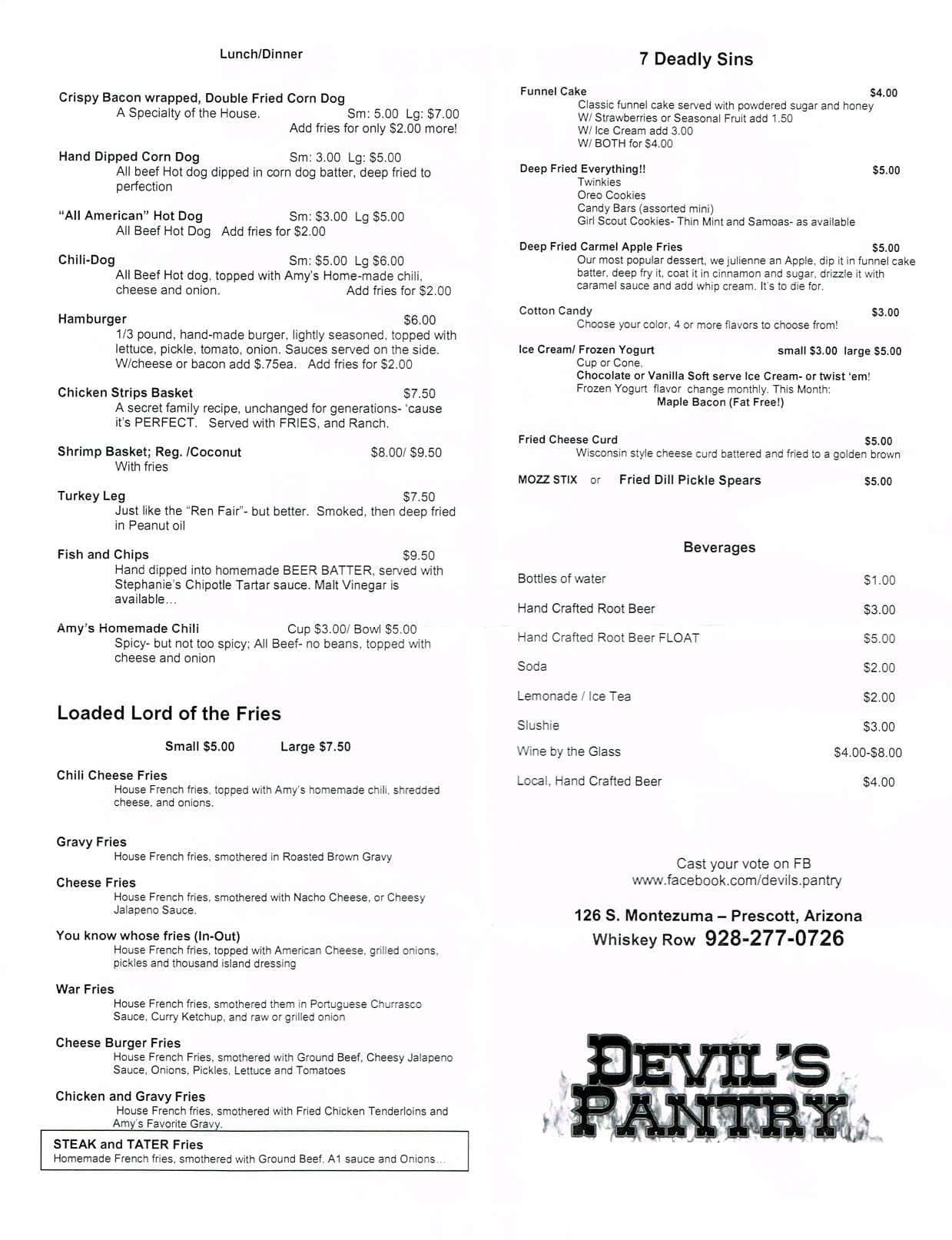 devil s pantry menu menu for devil s pantry city of prescott