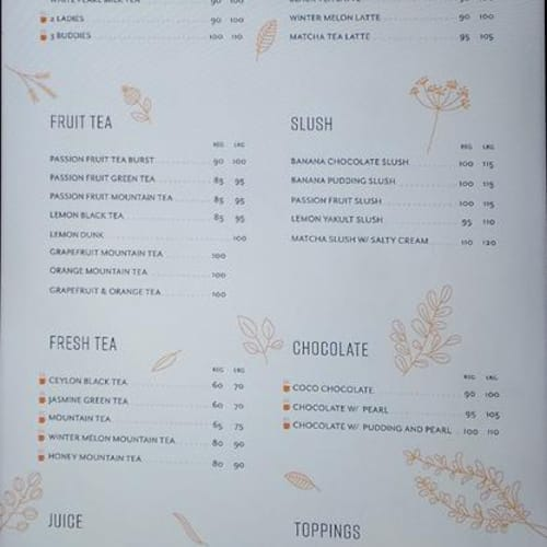 CoCo Fresh Tea & Juice Menu - Zomato Philippines