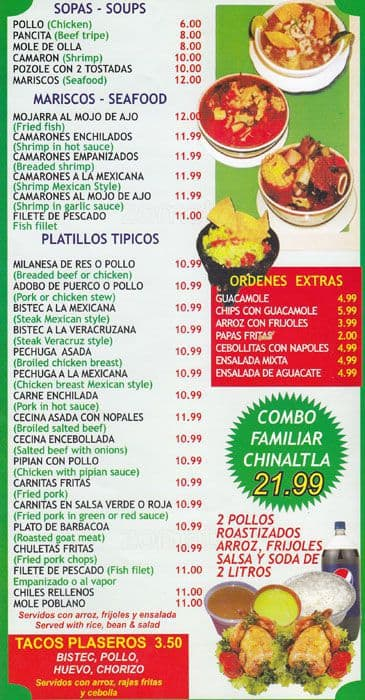 Chinantla Restaurant Menu