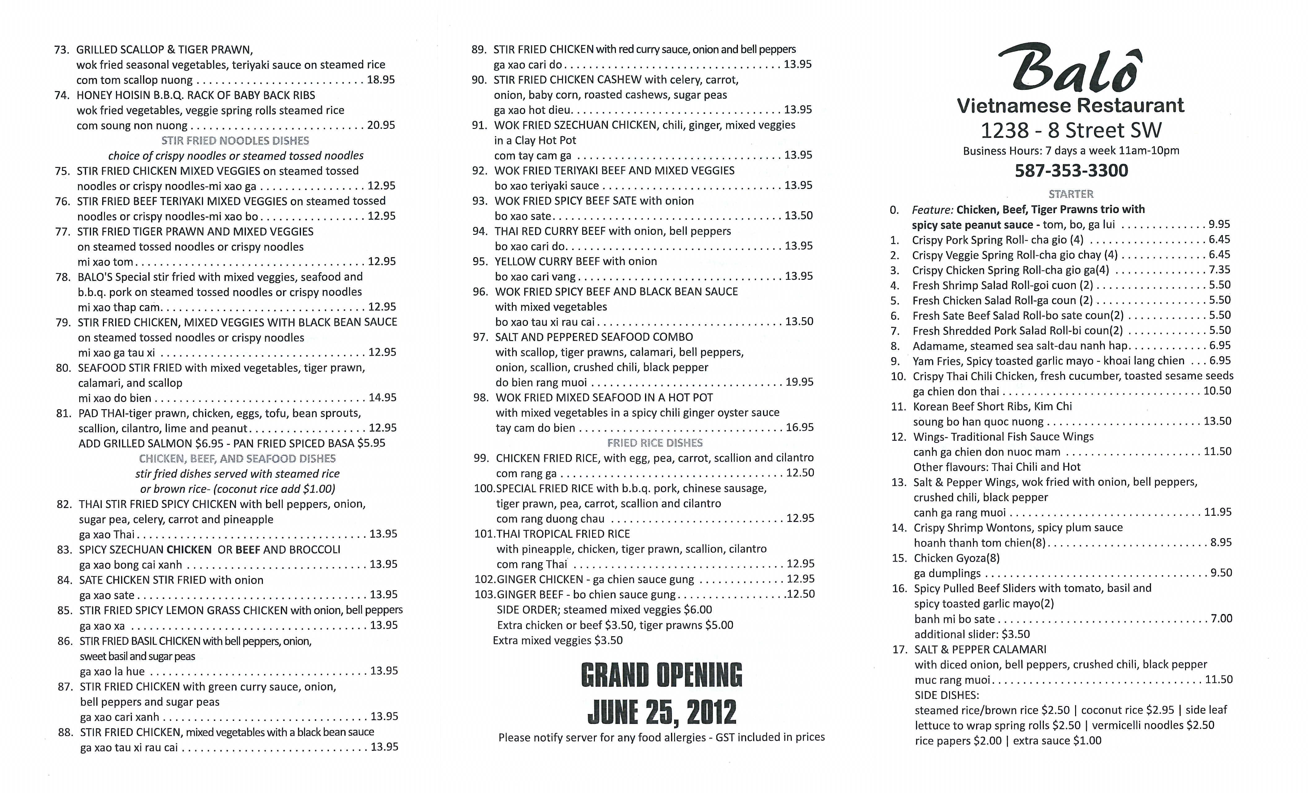 worksheet Vietnam Worksheet balo vietnamese restaurant menu urbanspoonzomato menu