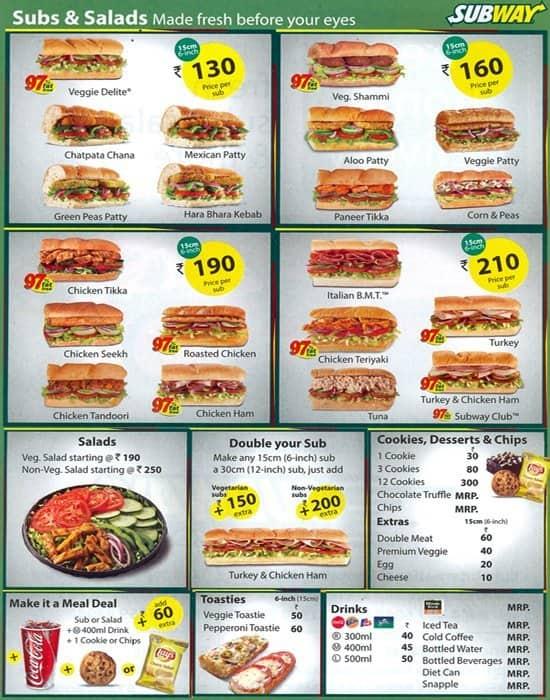 Permalink to Subway Restaurant Menu