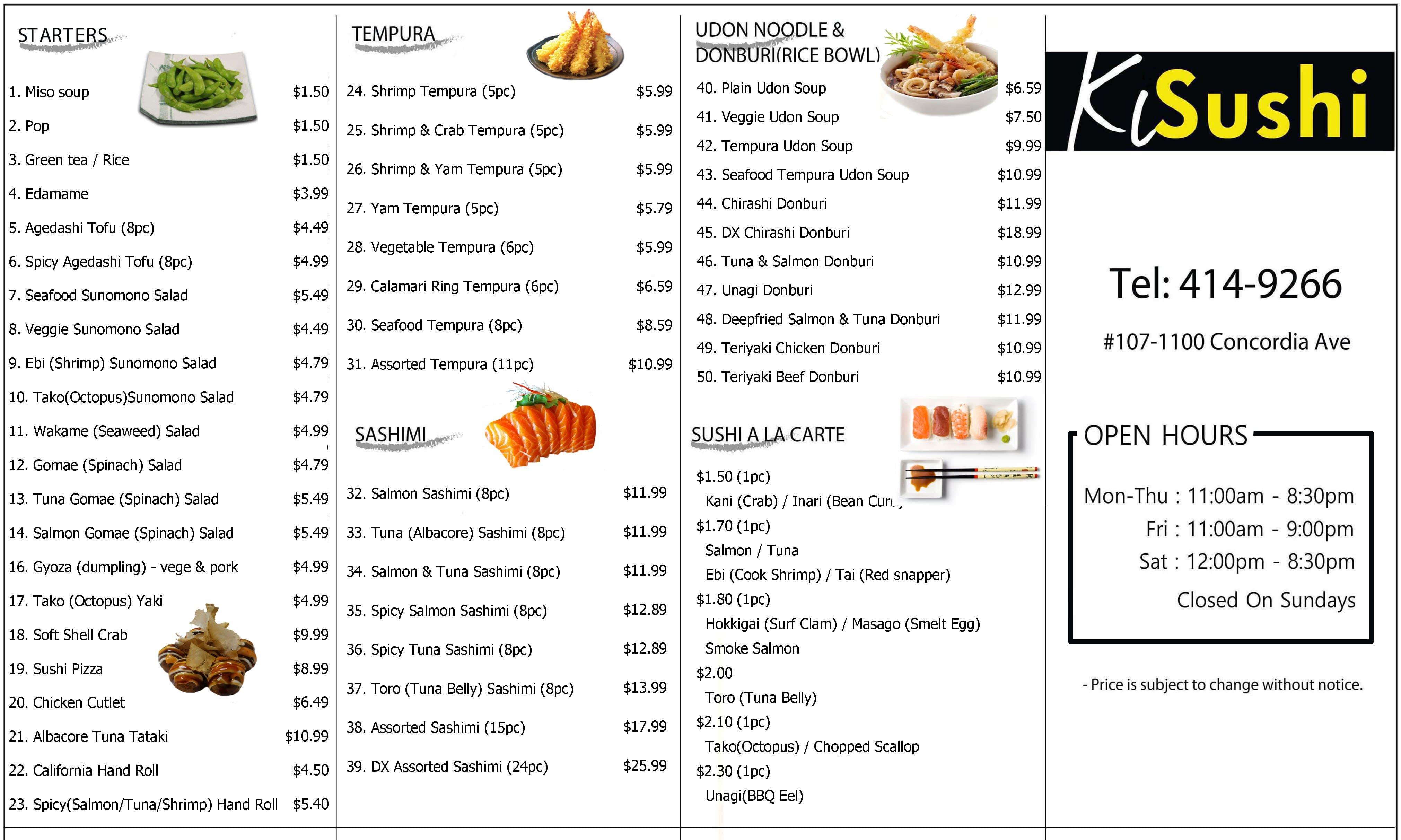 KL Sushi Menu