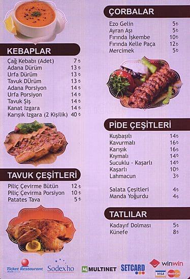 erzurum cag kebap menu menu for