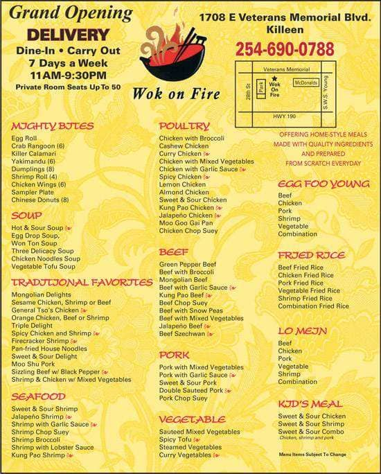 Chinese Food In Killeen Menu