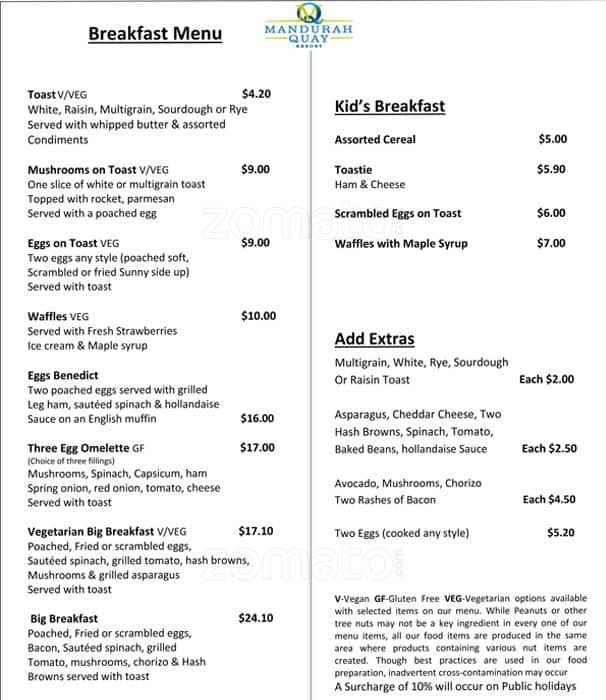 Waterside Restaurant Menu