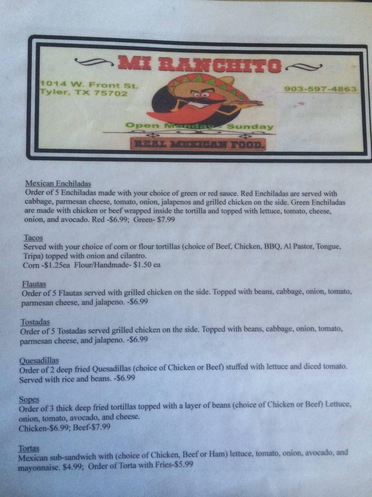 Mi Ranchito Mexican Restaurant Tyler Menu
