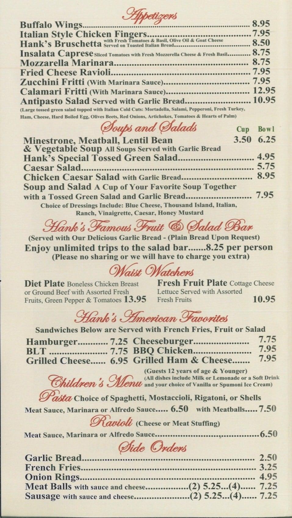 hank's pizza & deli menu - urbanspoon/zomato