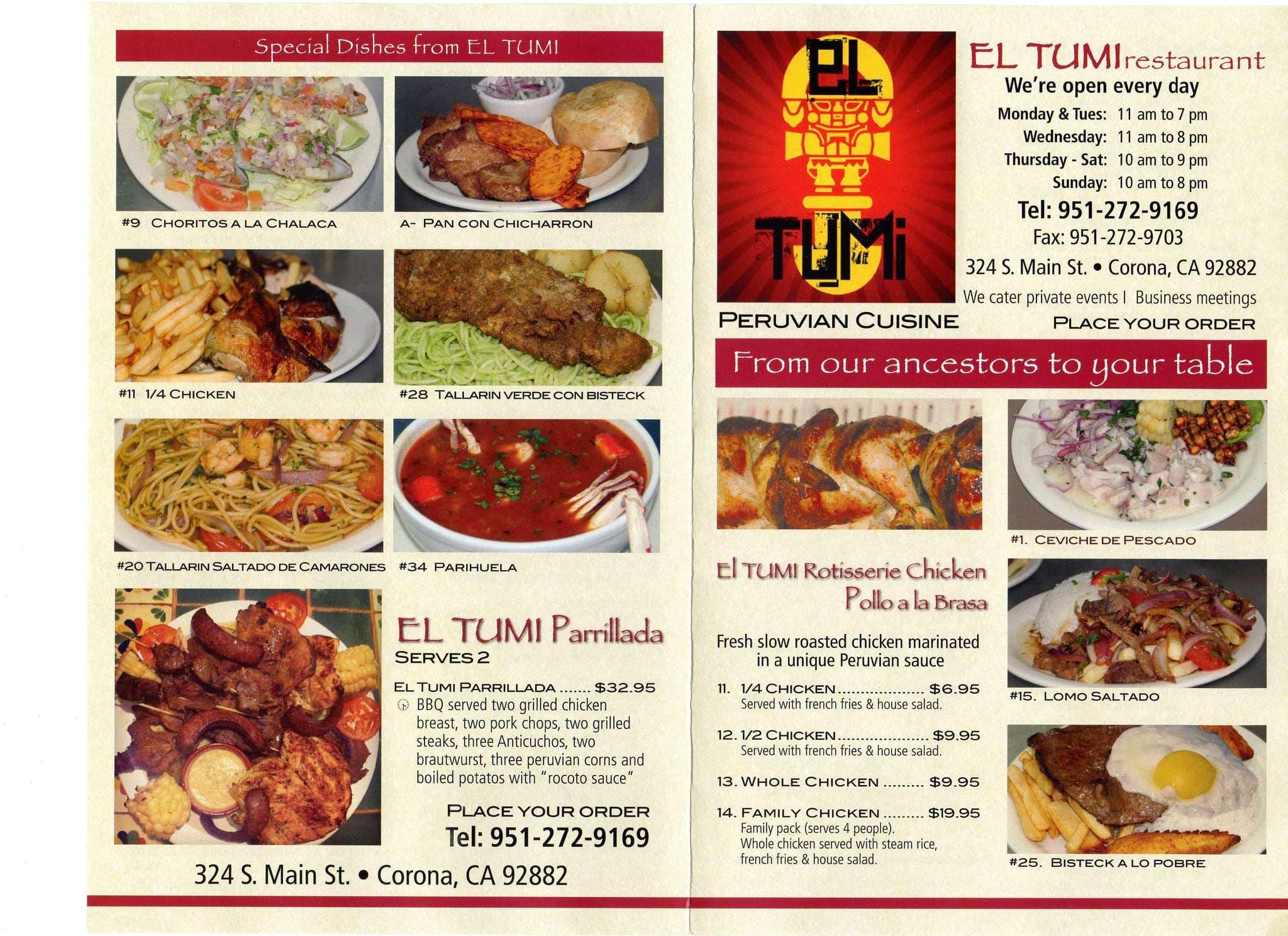 El Tumi Peruvian Restaurant Corona Menu
