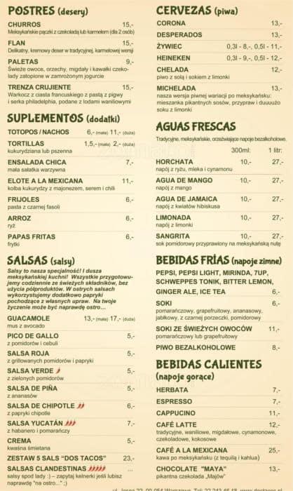 Menu At Dos Tacos Restaurant Warsaw