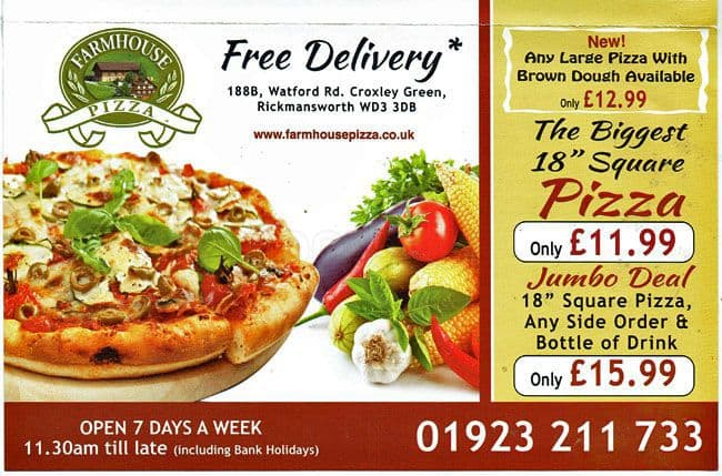 Menu At Farmhouse Pizza London 119 Courtlands Drive