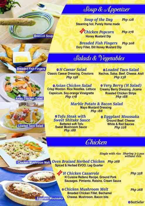 h cuisine menu menu for h cuisine tomas morato quezon city zomato philippines