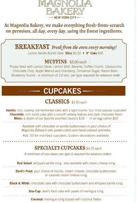 Magnolia Bakery Menu, Menu for Magnolia Bakery, Upper West Side ...