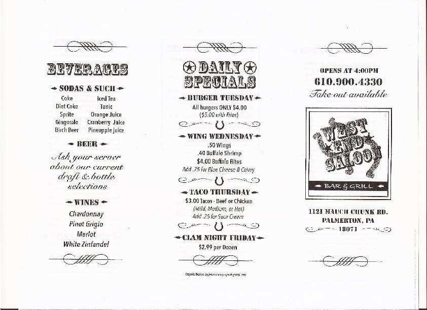 menu at west end saloon restaurant palmerton