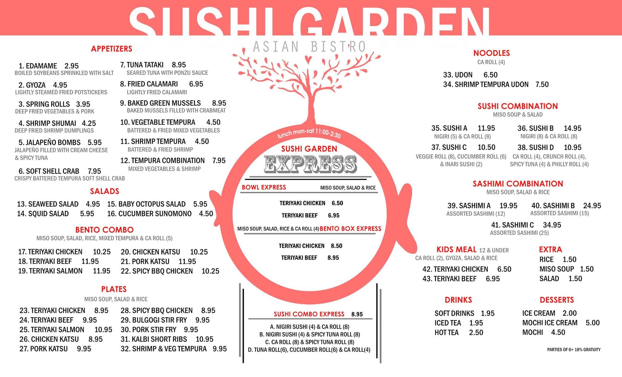 Scanned Menu For Sushi Garden