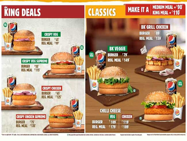 Burger King Menu Menu For Burger King Madhapur Hyderabad